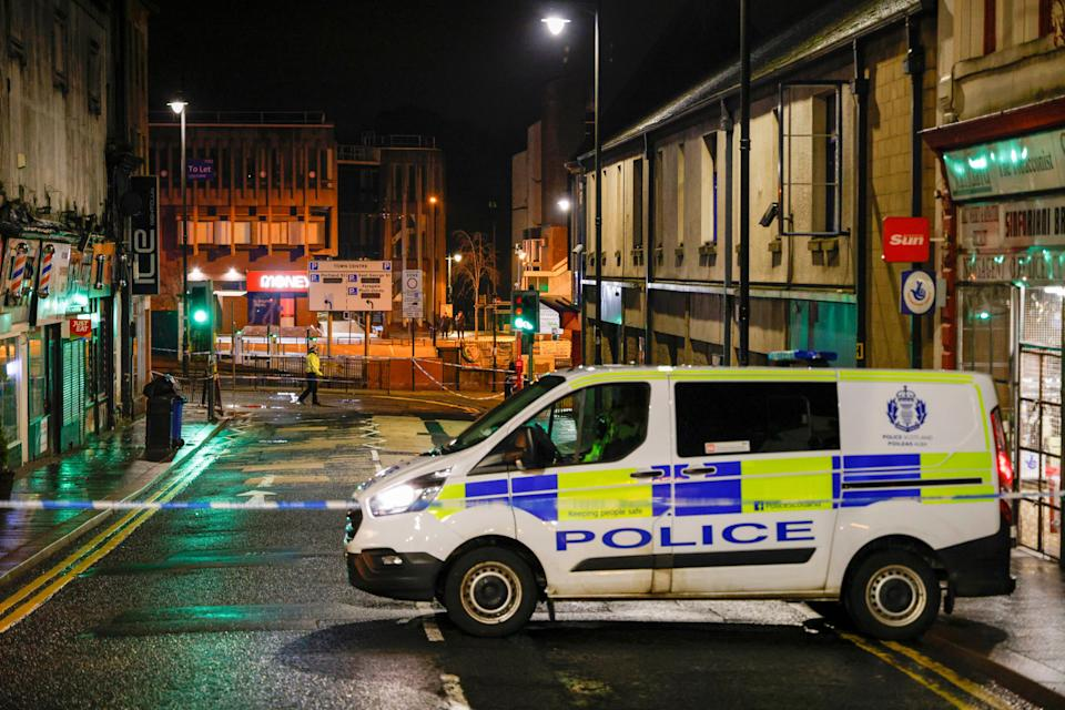 Kilmarnock town centre with police at the scene on February 4, (Getty Images)
