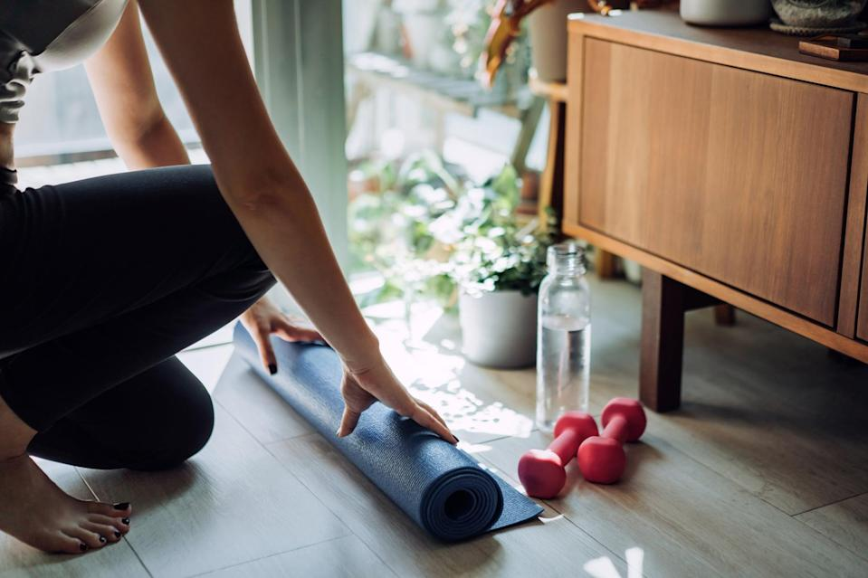 "<p>I've found that keeping my workouts varied helps me stay motivated and interested. I've been a Tone It Up girl for a few years now, and I've continued to <a href=""https://www.popsugar.com/fitness/tone-it-up-ankle-weights-review-48134770"" class=""link rapid-noclick-resp"" rel=""nofollow noopener"" target=""_blank"" data-ylk=""slk:follow their workouts"">follow their workouts</a> postpartum. I love how much variety there is in the app, with classes like barre, dance cardio, HIIT, strength training, and more. I've also been dabbling with the Equinox+ app and have especially appreciated the Pilates-inspired [solidcore] workouts, which are challenging while remaining low-impact. (For me, the less jumping those first months postpartum, the better.) Doing something new every day makes me excited to show up on my exercise mat.</p>"