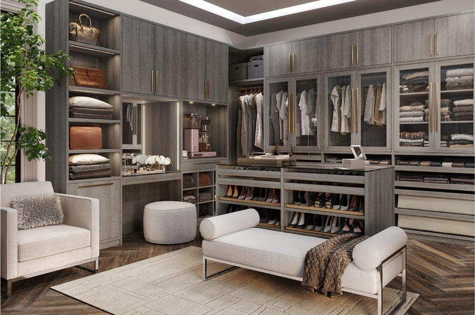 """<p>If you live for a transitional modern aesthetic, look no further than the Paxon closet system from California Closets. From hidden hardware and adjustable bars to luxe finishes and its versatile Everstyle Drawer System, the system can be configured to your liking.  </p><p><em>Inquire for Pricing<br></em><a class=""""body-btn-link"""" href=""""https://www.californiaclosets.com/paxton/"""" target=""""_blank"""">Learn More</a><br></p>"""