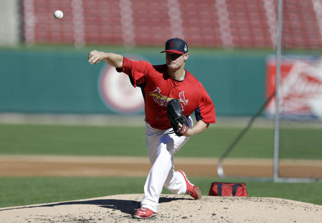 St. Louis Cardinals pitcher Shelby Miller throws during a simulated game at baseball practice Sunday, Oct. 20, 2013, in St. Louis. The Cardinals are preparing to play the Boston Red Sox in Game 1 of the World Series on Wednesday in Boston. (AP Photo/Jeff Roberson)
