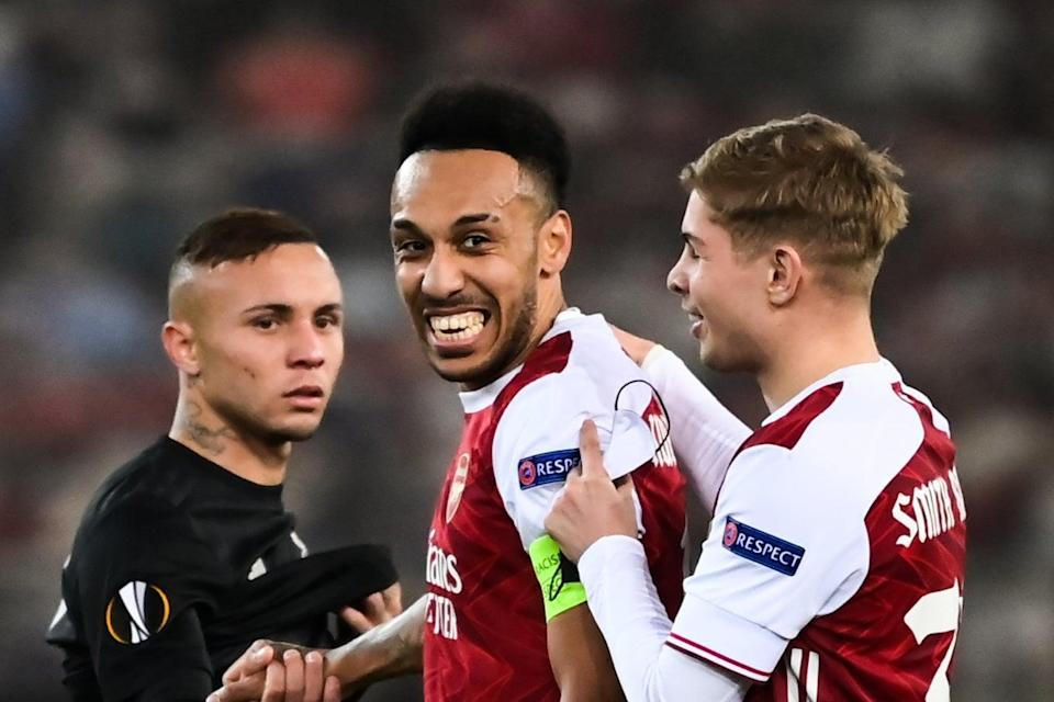 <p>Aubameyang fired the Gunners into the last 16</p> (AFP via Getty Images)
