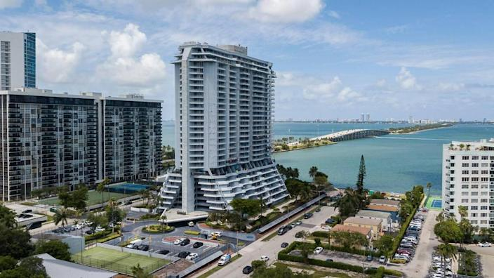 Aerial view of the Hamilton on the Bay as it goes through renovations in Miami's Edgewater neighborhood on Tuesday, June 8, 2021.