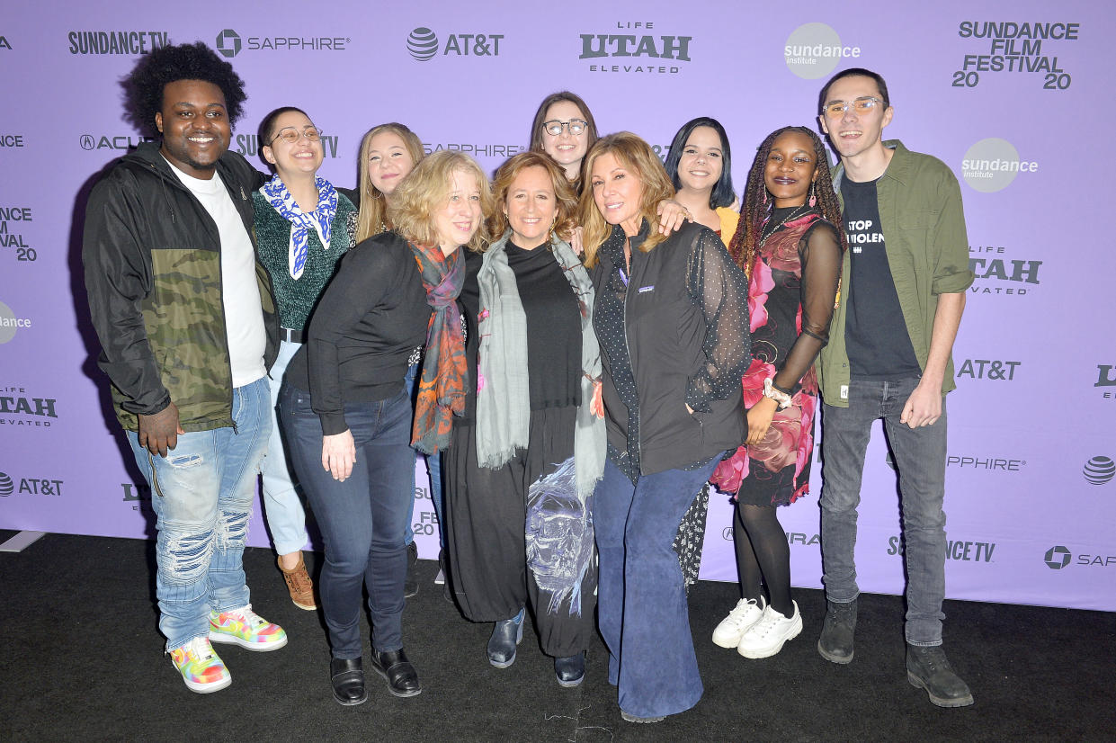 PARK CITY, UTAH - JANUARY 25:   Alex King, Emma Gonzalez, Jackie Corin, Natalie Barden, Sam Fuentes, Bria Smith and David Hogg with producers and director Kim A. Snyder, Lori Cheatle and Maria Cole attend the 2020 Sundance Film Festival -