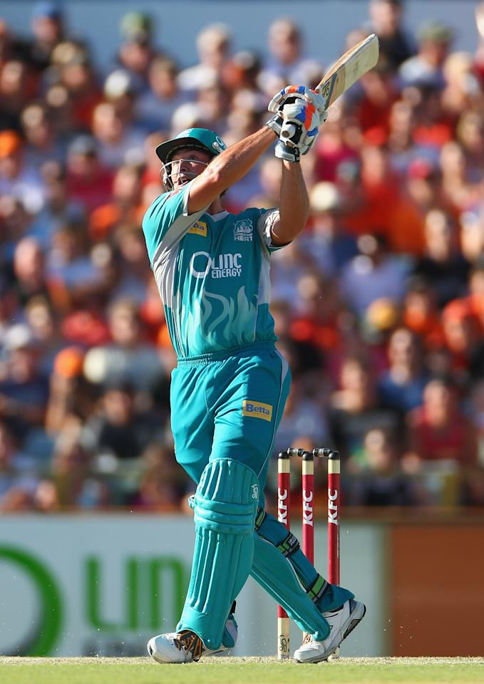 PERTH, AUSTRALIA - JANUARY 19:  Peter Forrest of the Heat hits out during the Big Bash League final match between the Perth Scorchers and the Brisbane Heat at WACA on January 19, 2013 in Perth, Australia.  (Photo by Robert Cianflone/Getty Images)