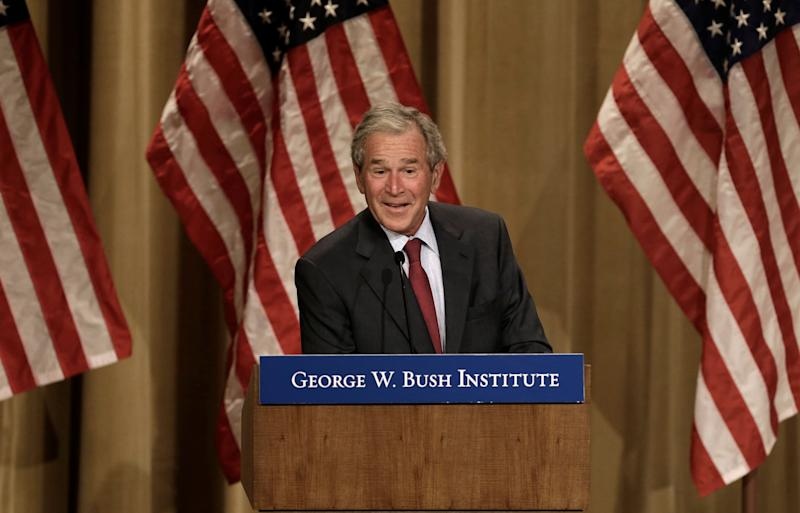 Former President George W. Bush speaks during a conference at the Bush Institute Thursday, Sept. 12, 2013, in Dallas. (AP Photo/LM Otero) -- Husband of Laura Bush -- Father of Jenna Bush Hager & Barbara Pierce Bush -- Brother of Jeb Bush, Pauline Robinson Bush, Neil Bush, Marvin Bush, Dorothy Bush Koch