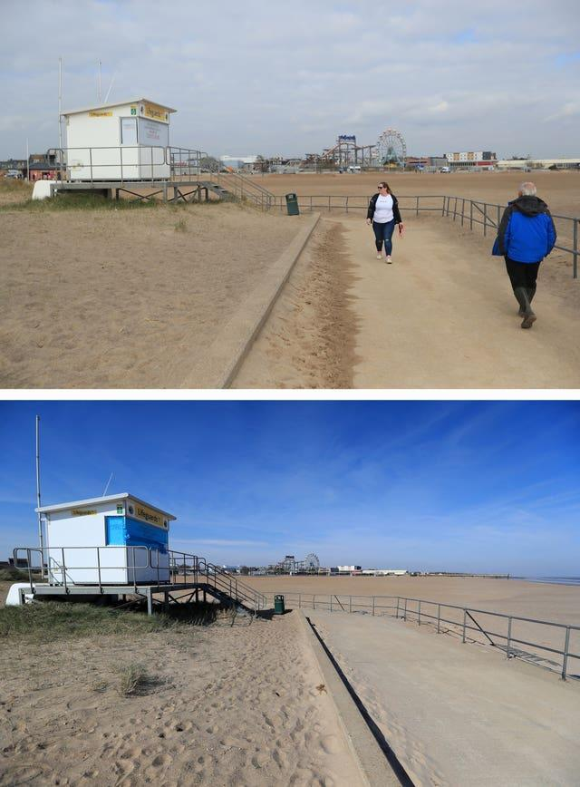 Composite of photos of the seafront in Skegness, Lincolnshire taken today (top) and the same view on 24/03/20 (bottom), the day after Prime Minister Boris Johnson put the UK in lockdown