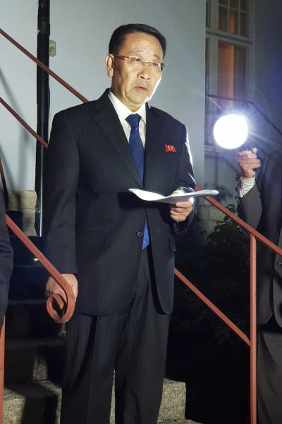 "North Korean negotiator, Kim Miyong Gil speaks outside the North Korean Embassy in Stockholm, Sweden, Saturday, Oct. 5, 2019. North Korea's chief negotiator said Saturday that discussions with the U.S. on Pyongyang's nuclear program have broken down, but Washington said the two sides had ""good discussions"" that it intends to build on in two weeks. (KOREA POOL/Yonhap via AP)"