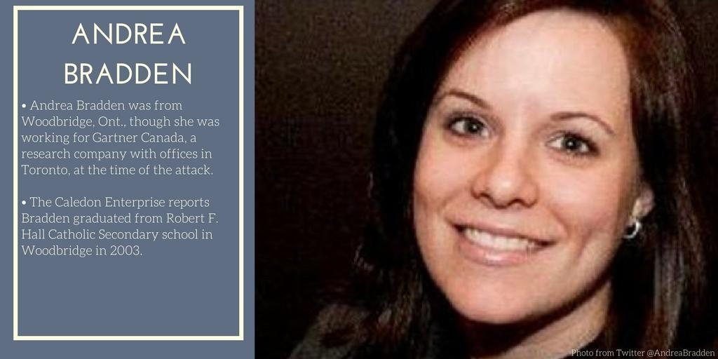 <p>Andrea Bradden was one of 10 people killed in Toronto when a man drove a rental van onto Yonge Street's sidewalk around lunchtime on April 23 and plowed through clusters of pedestrians.Today, April 23, 2019, marks the first anniversary of the attack. (Photo from Andrea Bradden/Twitter) </p>