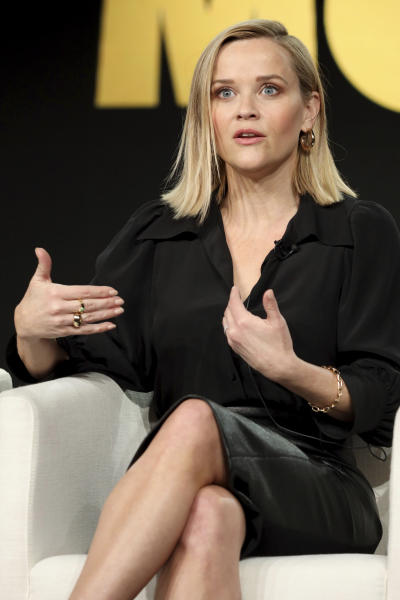 "Reese Witherspoon speaks at ""The Morning Show,"" panel during the Apple+ TCA 2020 Winter Press Tour at the Langham Huntington, Sunday, Jan. 19, 2020, in Pasadena, Calif. (Photo by Willy Sanjuan/Invision/AP)"