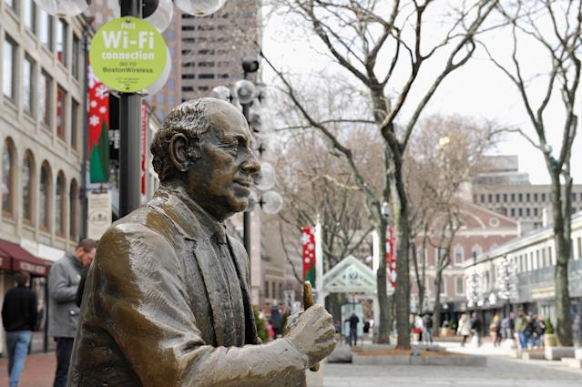 The Boston Police Department paid tribute to Red Auerbach for Black History Month. (Getty Images)