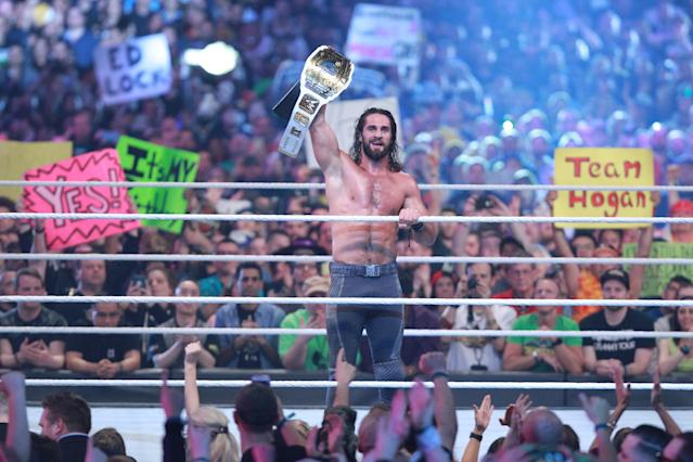 Seth Rollins celebrates after winning the Intercontinental title at WrestleMania 34 (Photo courtesy of WWE)