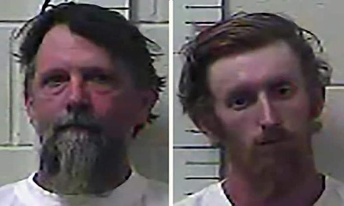 This image provided by the Yazoo County Regional Correctional Facility in Yazoo City, Miss. shows Wade Twiner, 48, left, and his son, Lane Twiner, 22. (Yazoo County Regional Correctional Facility via AP)