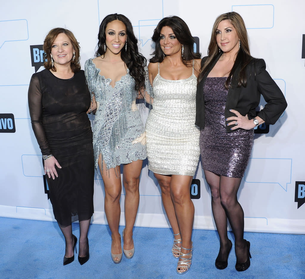 """Caroline Manzo, Melissa George, Kathy Wakile, and Jacqueline Laurita of """"The Real Housewives of New Jersey"""" attend Bravo's 2012 Upfront Event at Center 548 on April 4, 2012 in New York City."""