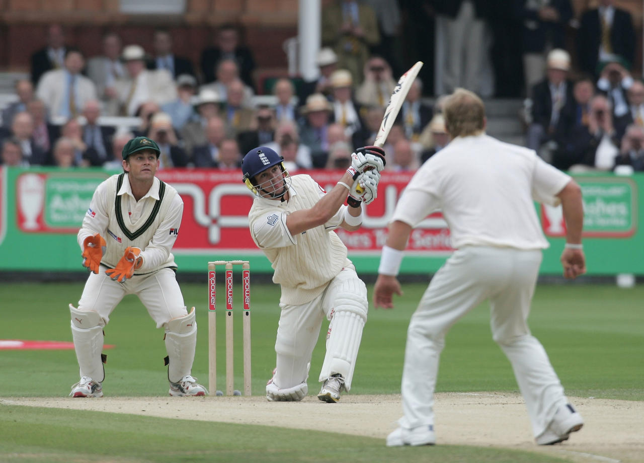 LONDON - JULY 22: Kevin Pietersen of England plays the shot that led to his dismissal as Adam Gilchrist and Shane Warne of Australia look on during day two of the first npower Ashes Test match between England and Australia at Lord's on July 22, 2005 in London.  (Photo by Tom Shaw/Getty Images)