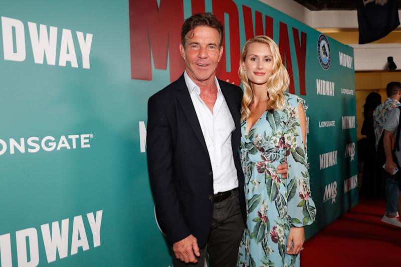 "HONOLULU, HAWAII - OCTOBER 20: (L-R) Dennis Quaid and fiancee Laura Savoie arrive at the ""Midway"" Special Screening at Joint Base Pearl Harbor-Hickam on October 20, 2019 in Honolulu, Hawaii. (Photo by Marco Garcia/Getty Images for Lionsgate Entertainment)"