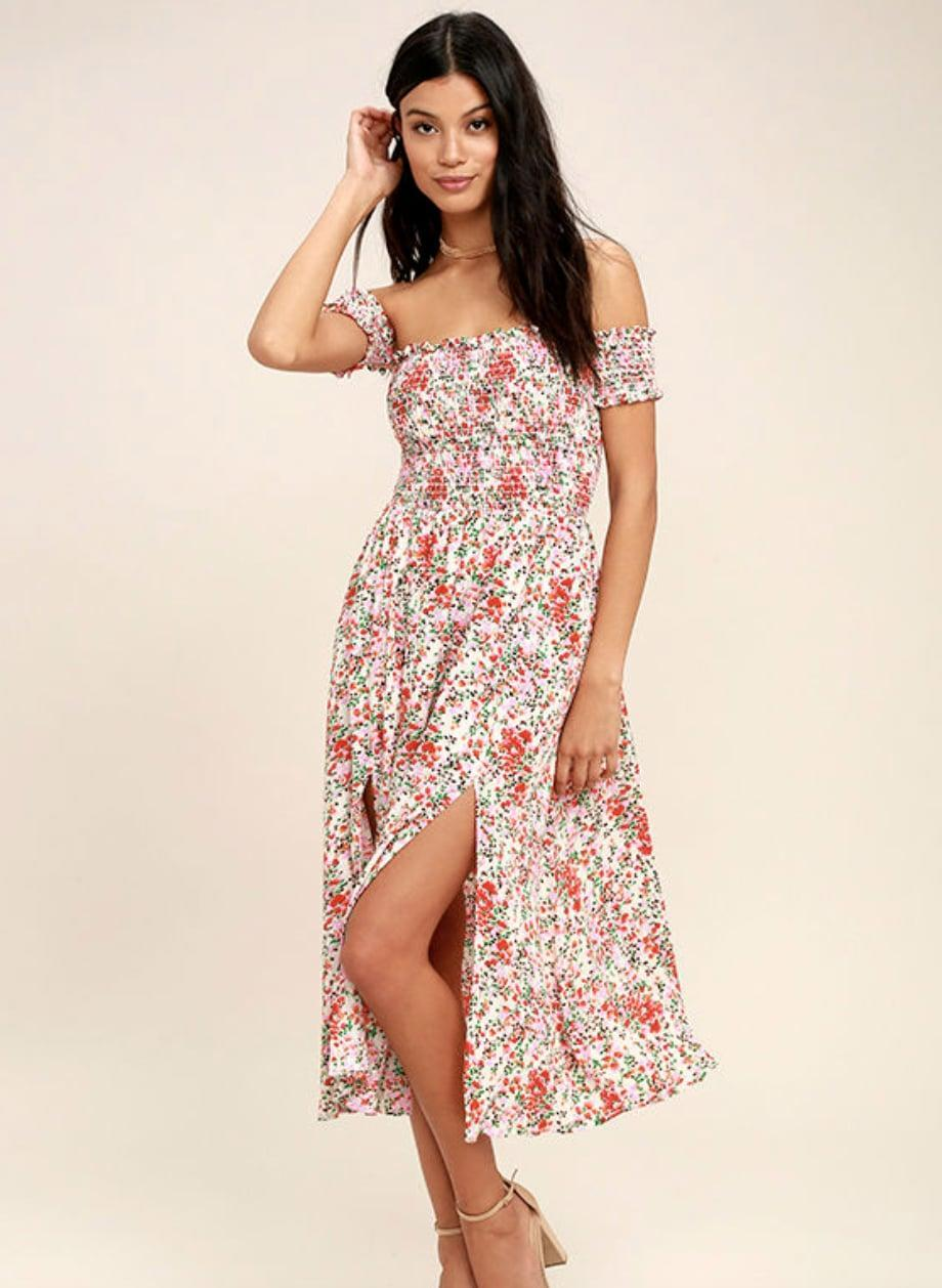 <p>The silhouette of this <span>Lulus View from the Meadow Cream Floral Print Off-the-Shoulder Dress</span> ($68) is so feminine and flattering.</p>