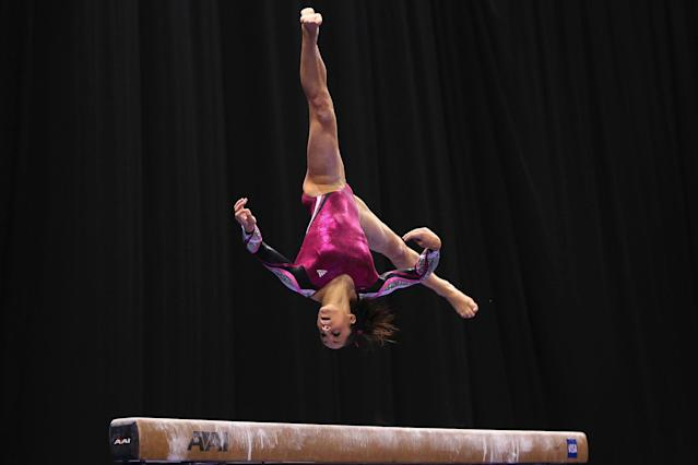 ST. LOUIS, MO - JUNE 10: Jordyn Wieber competes on the beam during the Senior Women's competition on day four of the Visa Championships at Chaifetz Arena on June 10, 2012 in St. Louis, Missouri. (Photo by Dilip Vishwanat/Getty Images)