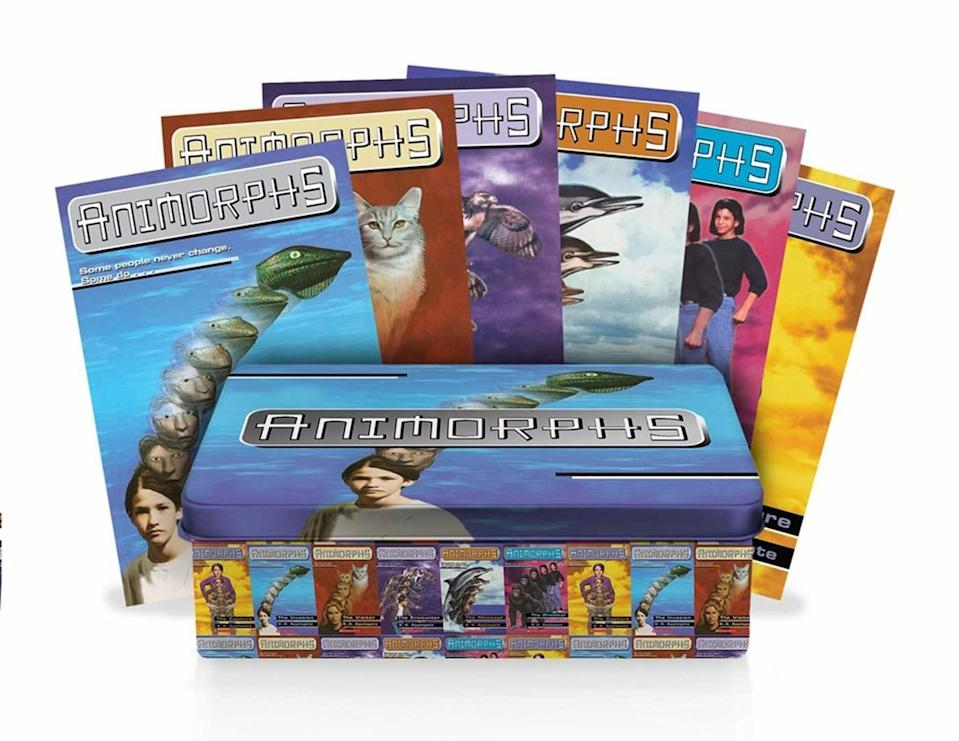 Tin set of Animorphs books, showing frog, cat, dolphin and other animals