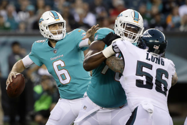 Miami QB Jay Cutler passes during the first half of Thursday's preseason game against the Philadelphia Eagles. (AP)