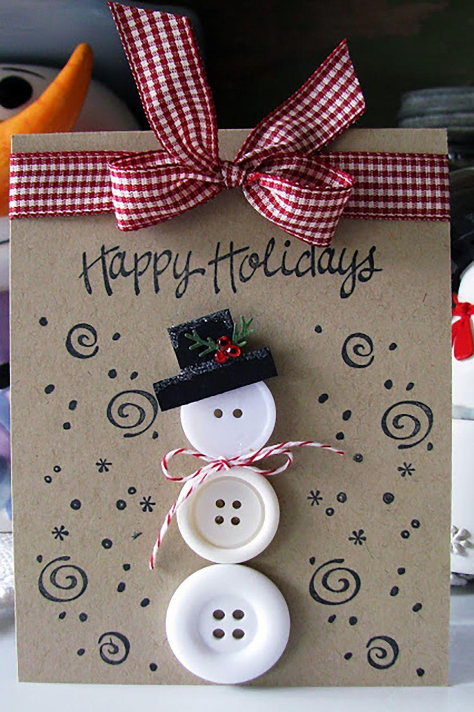 """<p>Give your friends and family a dose of holiday cheer with this creation featuring a snowman made from buttons.</p><p><strong>Get the tutorial at <a href=""""http://deedeecampbell.blogspot.com/2012/12/3-button-snowman-card-and-christmas.html"""" rel=""""nofollow noopener"""" target=""""_blank"""" data-ylk=""""slk:Scrappin' With DeeDee"""" class=""""link rapid-noclick-resp"""">Scrappin' With DeeDee</a></strong><strong>.</strong></p><p><a class=""""link rapid-noclick-resp"""" href=""""https://www.amazon.com/GANSSIA-Sewing-Flatback-Buttons-Colored/dp/B00RCDXI70/?tag=syn-yahoo-20&ascsubtag=%5Bartid%7C10050.g.3872%5Bsrc%7Cyahoo-us"""" rel=""""nofollow noopener"""" target=""""_blank"""" data-ylk=""""slk:SHOP WHITE BUTTONS"""">SHOP WHITE BUTTONS</a></p>"""
