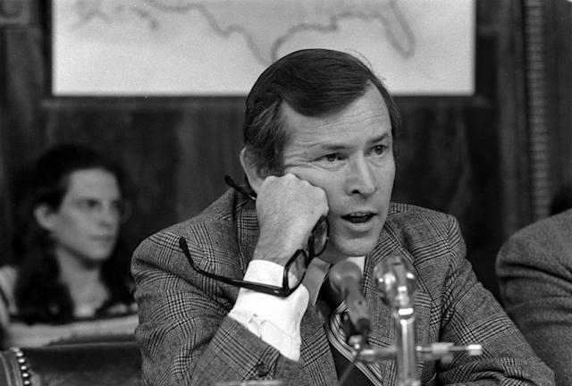 <p>Sen. Howard Baker, R-Tenn., vice chairman of the Senate Watergate Investigating Committee, questions witness James McCord during hearing in Washington, D.C., on May 18, 1973. (PHOTO: AP) </p>