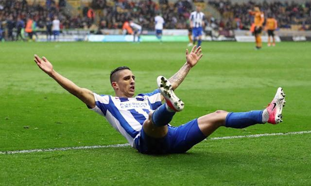 "<span class=""element-image__caption"">Brighton's Anthony Knockaert enjoys the moment after his second goal secured an impressive win over Wolves.</span> <span class=""element-image__credit"">Photograph: James Baylis/AMA/Getty Images</span>"