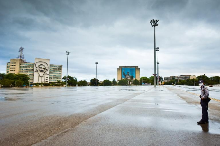 Havana's Revolution Square stands nearly empty on May Day 2020 as a precaution against the coronavirus pandemic