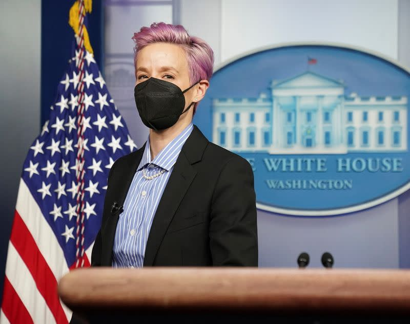 U.S. Women's National Soccer Team players Rapinoe and Purce visit press briefing room at the White House in Washington