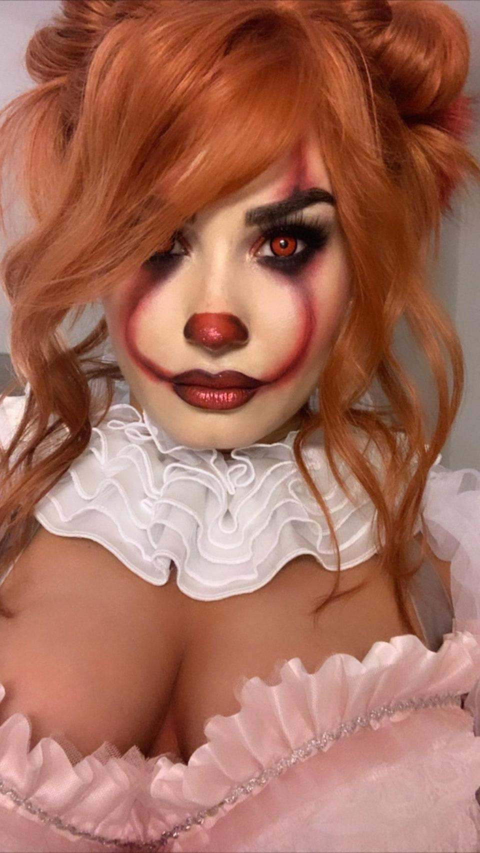 Demi Lovato transformed into Pennywise from the movie <em>It</em> for Halloween 2019, for a star-studded party she hosted at Hollywood's Hyde nightclub. The singer's haunting look included a red wig, the clown's red makeup, and a costume that featured a white tutu and fishnet stockings.
