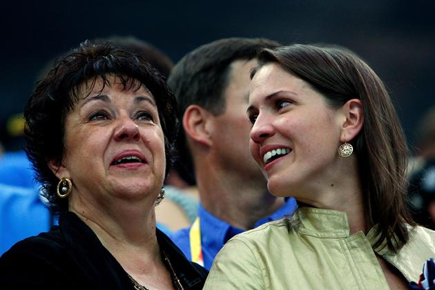 BEIJING - AUGUST 17:  Mother Debbie Phelps and sister Hilary Phelps watch as Michael receives his eighth gold medal after the Men's 4x100 Medley Relay at the National Aquatics Centre during Day 9 of the Beijing 2008 Olympic Games on August 17, 2008 in Beijing, China.  (Photo by Cameron Spencer/Getty Images)