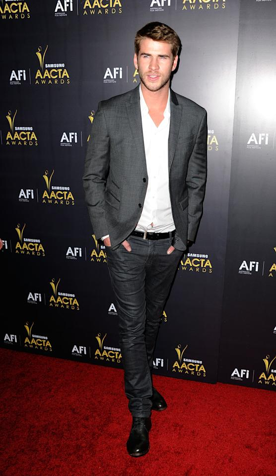 WEST HOLLYWOOD, CA - JANUARY 27:  Actor Liam Hemsworth arrives at the Australian Academy Of Cinema And Television Arts' 1st Annual Awards at Soho House on January 27, 2012 in West Hollywood, California.  (Photo by Frazer Harrison/Getty Images)