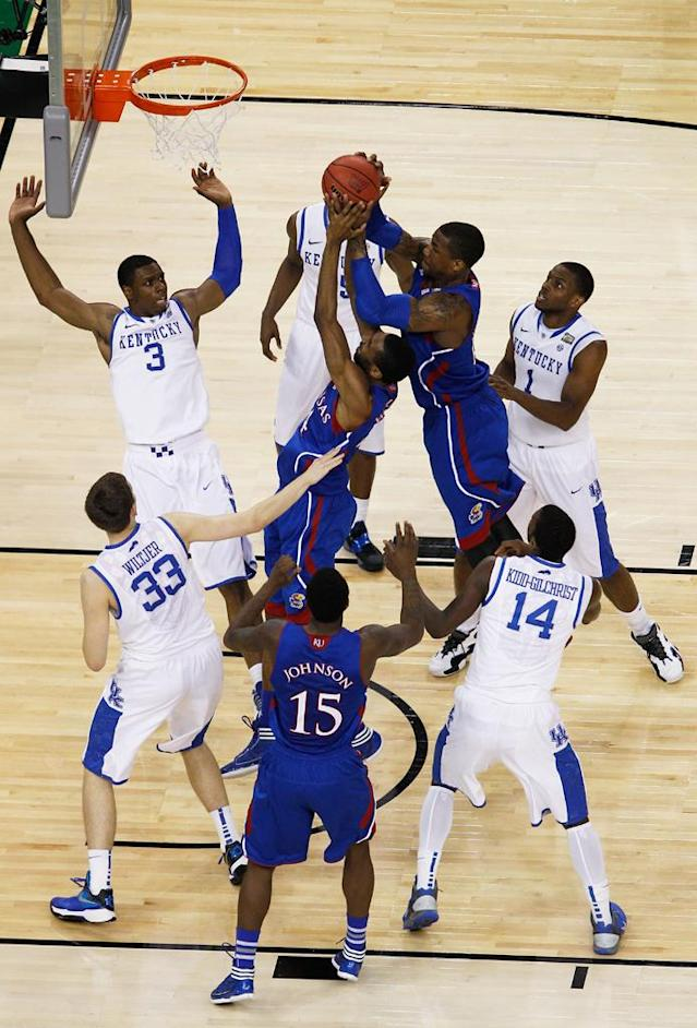 Thomas Robinson #0 of the Kansas Jayhawks jumps over a teammate for a rebound in the first half against the Kentucky Wildcats in the National Championship Game of the 2012 NCAA Division I Men's Basketball Tournament at the Mercedes-Benz Superdome on April 2, 2012 in New Orleans, Louisiana. (Photo by Chris Graythen/Getty Images)