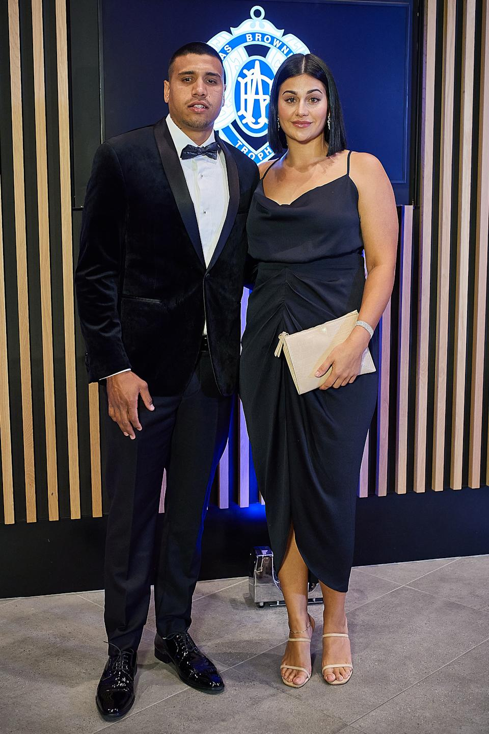 Tim Kelly and wife Cailtin Miller pose for a photo during the 2020 Brownlow Medal Count at Optus Stadium on October 18, 2020 in Perth, Australia.