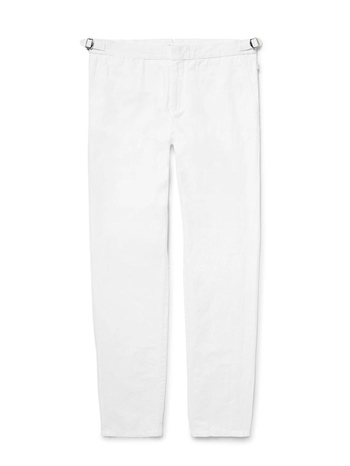 "<p>$275, buy now at, <a rel=""nofollow"" href=""https://www.mrporter.com/en-us/mens/orlebar_brown/griffon-slim-fit-tapered-slub-cotton-and-linen-blend-trousers/793979?mbid=synd_yahoostyle"">mrporter.com</a></p>"
