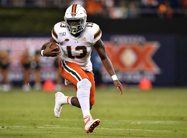 Miami RB DeeJay Dallas turned to a sports psychiatrist to help his fumbling issue. (Photo by Mark Brown/Getty Images)