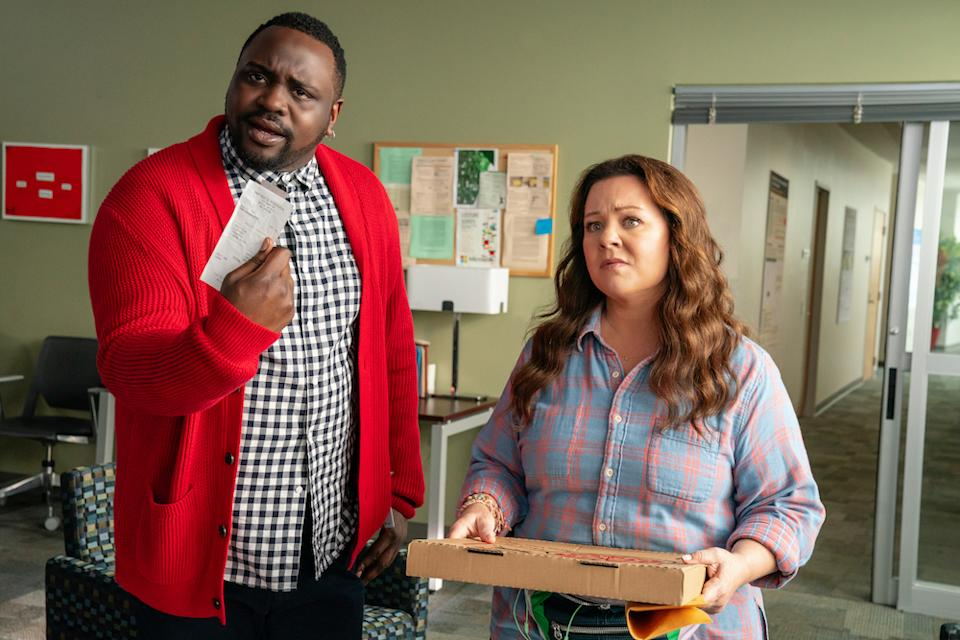 Carol Vivian Peters (Melissa McCarthy) and Dennis Caruso (Brian Tyree Henry) in Superintelligence. (HBO)