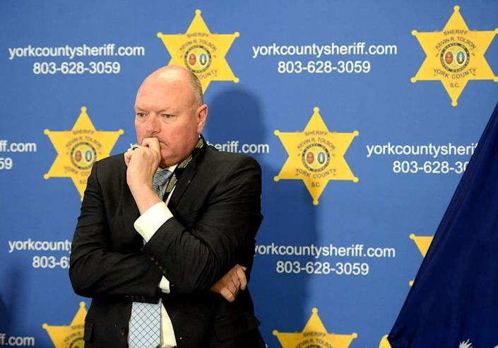 Sheriff Kevin R. Tolson of York County, SC listens as the 911 calls are replayed during a press conference on Thursday, April 8, 2021. Former NFL player Phillip Adams shot 6 people, killing five and severely wounding another man on Wednesday, April 7, 2021 in York County. Adams then killed himself.