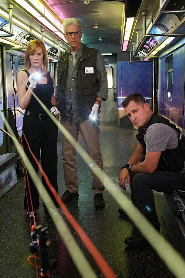 "Marg Helgenberger as Catherine Willows, Ted Danson as lead investigator D.B. Russell, and George Eads as Nick Stokes on ""CSI: Crime Scene Investigation"""