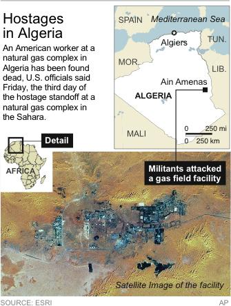 Map locates Ain Amenas, Algeria where hostages were taken