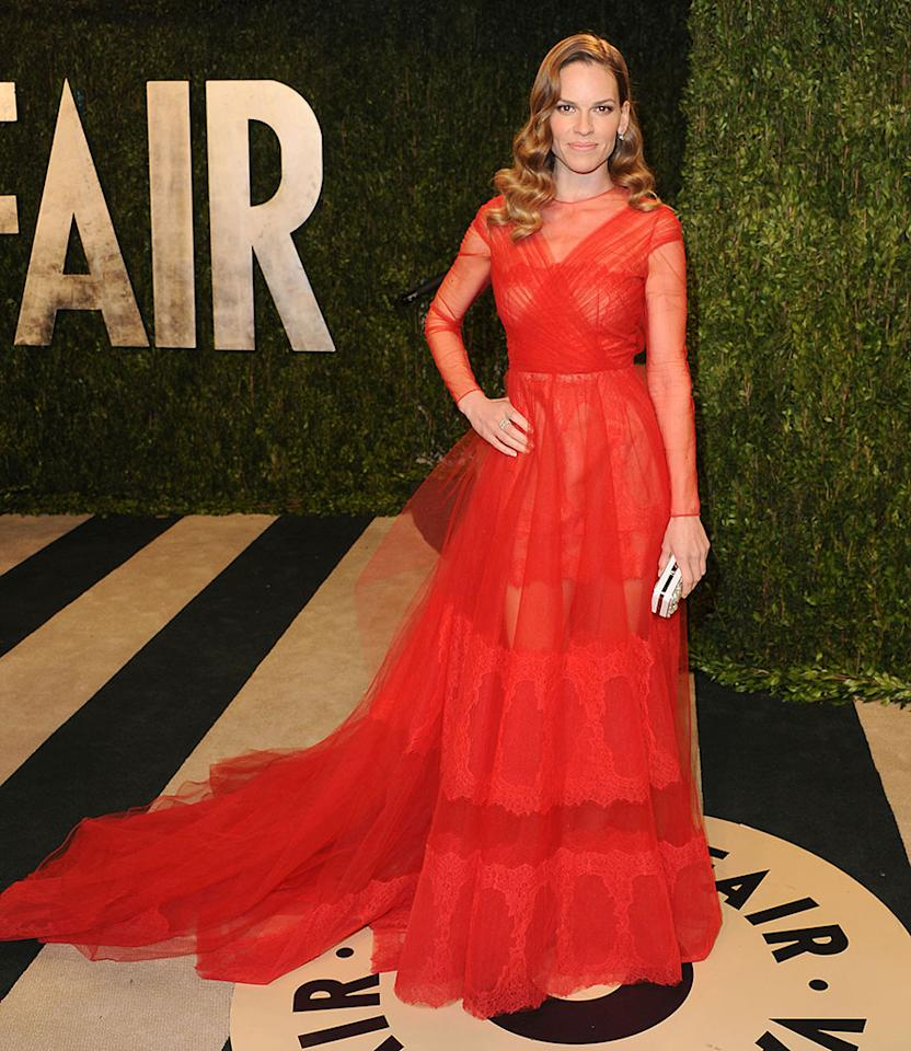 Hilary Swank attends the 2013 Vanity Fair Oscar party at Sunset Tower on February 24, 2013 in West Hollywood, California.