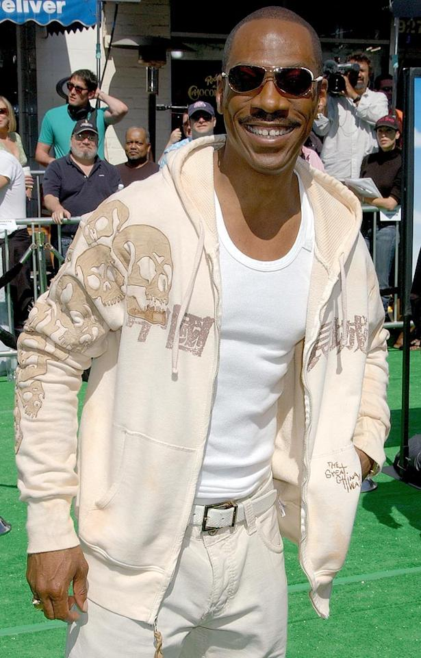 "Eddie Murphy grins on the ""Shrek"" green carpet. Gregg DeGuire/<a href=""http://www.wireimage.com"" target=""new"">WireImage.com</a> - May 6, 2007"