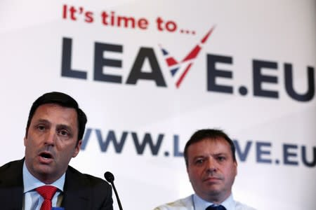 Gerry Gunster, a Washington-based strategist hired by the Leave.EU campaign speaks during a Leave.EU news conference in central London