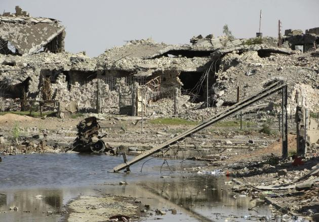 A general view shows damaged houses in the city of Ramadi.