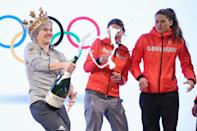 <p>Silver medalist Katharina Althaus of Germany celebrates at the German House (Deutsches Haus) reception after the Ladies' Normal Hill Individual Ski Jumping Final on day three of the PyeongChang 2018 Winter Olympic Games (Photo by Andreas Rentz/Getty Images) </p>