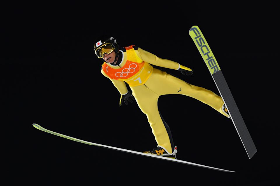Noriaki Kasai of Japan competes during the men's team large hill ski jump on Feb. 19, 2018 in PyeongChang, South Korea. Kasai is 45-years-old, and determined to reach his ninth-straight Olympics in 2022. (Getty)