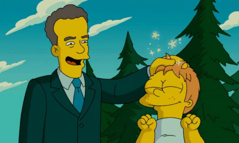 "<p>""The US government has lost its credibility so it is borrowing some of mine.""<br><br>Tom Hanks pops up in a government commercial, selling a ""new Grand Canyon"" where the town of Springfield happens to be. Needless to say, the Simpson family were not impressed. Thanks, Hanks. </p>"