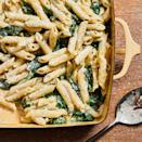 """<p>Feta softens in the oven before it's combined with spinach and pasta, with the pasta cooking right in the baking dish. Enjoy this one-pan dish on its own as a vegetarian main or serve with sautéed chicken breast for a boost of protein. <a href=""""https://www.eatingwell.com/recipe/7898240/baked-spinach-feta-pasta/"""" rel=""""nofollow noopener"""" target=""""_blank"""" data-ylk=""""slk:View Recipe"""" class=""""link rapid-noclick-resp"""">View Recipe</a></p>"""