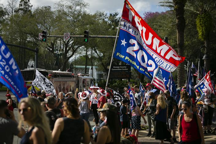 FLORIDA, USA - FEBRUARY 28: Supporters of former U.S. President Donald Trump are seen outside the Hyatt Regency Hotel during Conservative Political Action Conference, in Orlando, Florida, United States on February 28, 2021. (Photo by Eva Marie Uzcategui Trinkl/Anadolu Agency via Getty Images)