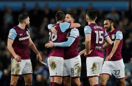 Soccer Football - Championship - Aston Villa vs Wolverhampton Wanderers - Villa Park, Birmingham, Britain - March 10, 2018 Aston Villa's Henri Lansbury and John Terry celebrate after the match Action Images/Andrew Couldridge
