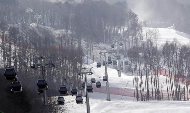 <p>In this Jan. 22, 2016 file photo, gondolas make their way overhead near the ski slope which will be the venue for the upcoming official Test Event of the PyeongChang 2018 Winter Olympics at the Jeongseon Alpine Centre in Jeongseon, South Korea. </p>